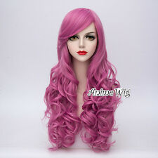 Lolita Women Girls 65CM Magenta Heat Resistant Long Curly Anime Cosplay Wig+Cap