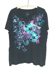 Just My Size Plus size 3X Gray Jungle Flower Purple Graphic Top T shirt 5X 4X