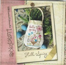Hello Spring Cross Stitch Kit by Lizzie Kate  Linen Fabric Trim & Buttons