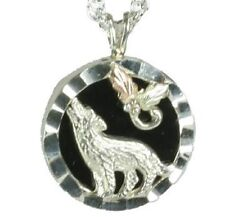 Lovely Black Hills Gold and Sterling Silver Onyx Wolf Pendant