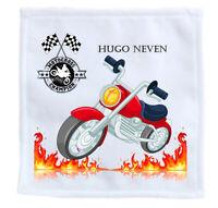 serviette enfant pour école - invité moto personnalise nom prénom réf 06