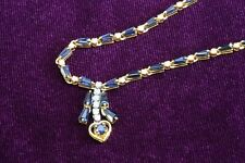 Blue Sapphire and Diamond Necklace with 14K Yellow Gold