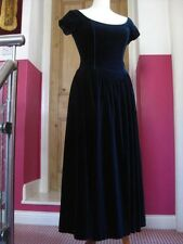 LAURA ASHLEY vintage midnight blue velvet DRESS party size UK 10 disney princess