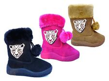 WHOLESALE LOT New Girls Winter Boots Leopard Medallion Pom-pom Shoe 36 Pairs-295