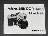 Nikon Micro-Nikkor Auto 55mm f/3.5 Non Ai 1967 Camera Lens Instruction