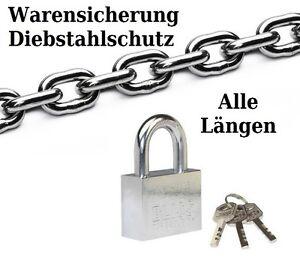 Stahlkette + Vorhängeschloss Diebstahlschutz Warensicherung Schloss Fahrradkette