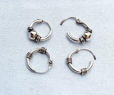 US Seller 2 Pairs Sterling Silver Beautiful 9mm Bali Hoop Round Earrings.E .F