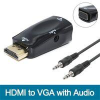 -1080P HDMI to VGA converter adapter + 3.5 mm audio Video jack full HD PC Laptop