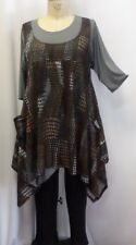 Coco & Juan Plus Size Lagenlook Layering Tunic Top Brown Black Knit 3X 4X B60""