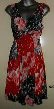 Tsega red/grey/white chiffon lined draped detail dress size L fit a 12 nwt