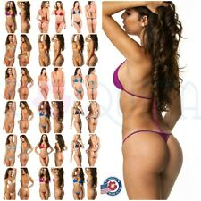 fdafd5ef11 LADIES teeny COQUETA Brazilian micro Thong bikini Swimsuit G String SET  SOLIDS