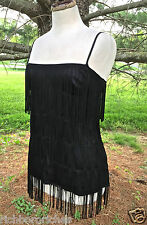"French Connection black silky 5 row 8"" fringed tank tunic top NWT 6 $128"