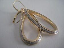 YELLOW GOLD DANGLING EARRINGS GLITTER 9 CARAT PEAR MOONDUST DIAMOND EFFECT