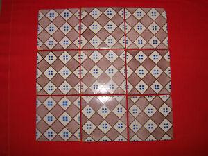 Antique Tile Of Earthenware Terracotta X 9 Pattern Blue - Tile - Ceramic
