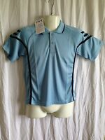 BNWT Boys/Girls Sz 10 LW Reid Brand Sky Blue/Navy Short Sleeve Panel Polo Top