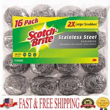 Scotch-Brite 2X Larger Stainless Steel Scrubbers 16 Scrubbers per pack Original