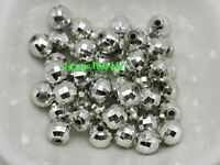 50 x silver disco ball beads round 8mm jewellery crafts loose spacer faceted new