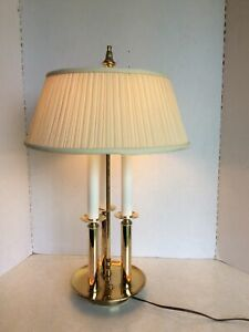 Mid Century Vintage French Bouillotte Lamp Gold Tone w/Fabric Shade