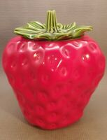 VINTAGE MCCOY POTTERY LARGE RED STRAWBERRY WITH GREEN STEM LID COOKIE JAR # 263