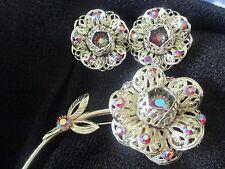 Vintage Red Aurora Borealis Rhinestone Flower Brooch Earrings Sarah Coventry-768