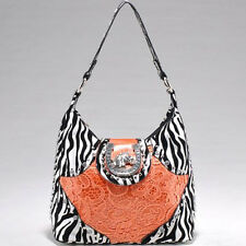 Studded Zebra Print Shoulder Hand Bag Purse w/ Western Theme Ornament-Orange AM7