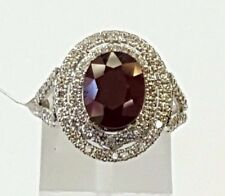 14k White Gold 4.08 TCW Natural Diamond & Oval Red Ruby Double Halo Ring