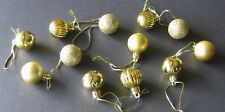 Gold Combo Mini Ornaments Christmas Shatterproof Balls Shiny Glitter Satin Rib