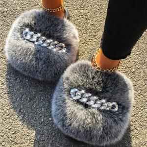 Real Farm Fox Sandals Furry Fur Slippers Diamond Chain Women Shoes Non-slip