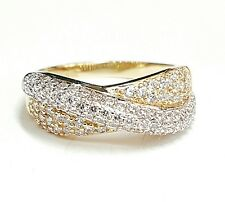14k Gold woman's two tone ring band with zirconia size 7