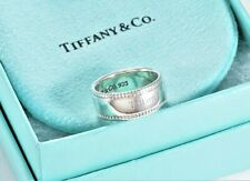 Tiffany & Co Sterling Silver Beaded Edge Band YOURS Love Ring Size 6.5 +Pouch