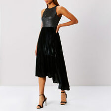Coast Delores Black Velvet Asymmetrical Hem Midi Dress Sizes UK 18 (new/tags 18