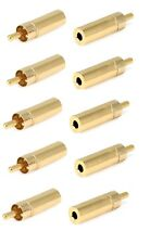 "10x 3.5mm 1/8"" Aux Mono Female Jack to RCA Male Plug Gold Plated Audio Adapter"