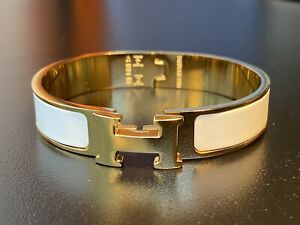Hermes Clic Clac H Bracelet   White Enamel + Gold Plated   Made in France