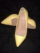 NEXT Yellow Leather Bridesmaid High Heel Party Prom Race Court Shoes 3,5 36 NEW