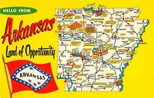 State map postcard Hello from Arkansas Land of Opportunity chrome large letter