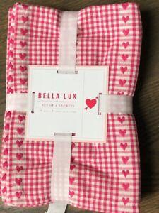 BELLA LUX  Pink & White Valentine Hearts Cotton Napkins Set/4
