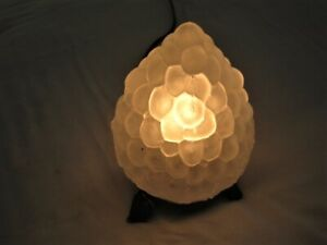 Frosted White Glass Boudoir Night Light Lamp Bunch of Grapes w/ Leaves Art Deco