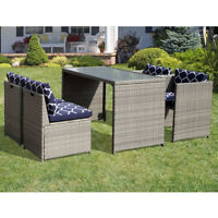 5 Piece Wicker Furniture Dining Set Bar Set Cushioned Patio Outdoor Space Saving