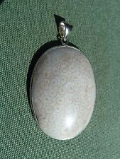 FOSSILIZED CORAL Sterling Silver Crystal Gemstone Pendant 40mm