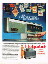 Vintage 1960 Magazine Ad For Hotpoint Washer New Free Span Design Touch Command