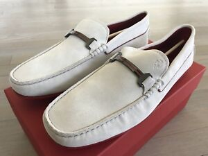750$ Tod's Ferrari White Suede City Gommino Drivers Size US 12 Made In Italy