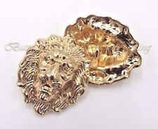 Set 8pc. Metal buttons Gold Head Lion British style size 20mm x 25mm
