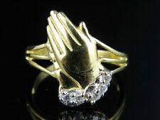 Men's Real 10K Yellow Gold Simulated Diamond Praying Hands Split Shank Ring