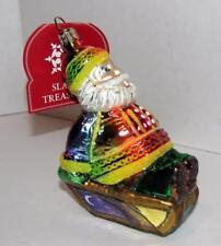Slavic Treasures Rainbow Sledding Santa Handmade Polish Blown Glass Ornament