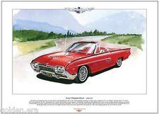 FORD THUNDERBIRD SPORTS ROADSTER 1961-63 - Fine Art Print - A3 size - Roundbird