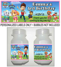 30 PAW PATROL BIRTHDAY PARTY FAVORS BUBBLE LABELS GIRL