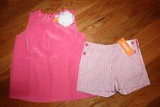 NWT Gymboree Spring Dressy Size 7 Set Pink Flower Top Shirt Striped Shorts