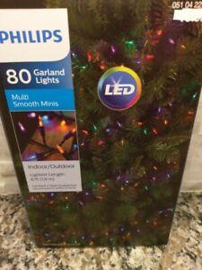 Philips 80ct LED Christmas Smooth Mini Garland String Lights Multi Color