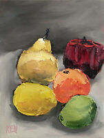 TWO PEARS ORANGE APPLE LIME Still Life Fruit Painting Knives 6x8 060819 KEN