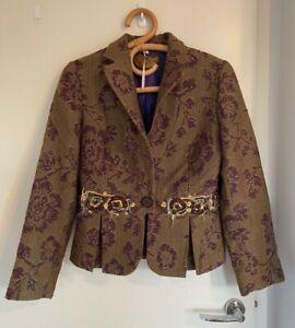 Etro Milano Italian Embroidered Wool Jacket. Size 42